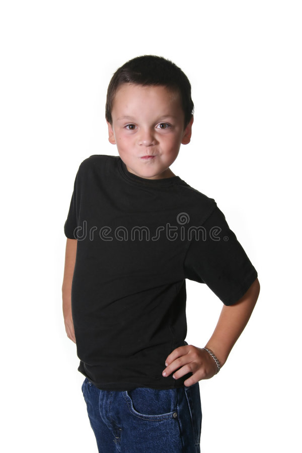 Niño joven con manierismos expresivos foto de archivo