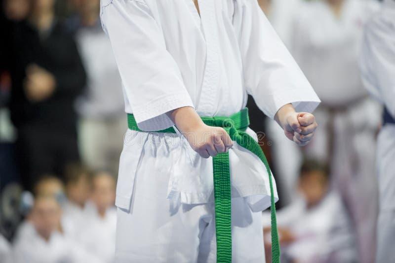 Niño joven, hermoso y acertado del karate en la posición del karate S fotografía de archivo