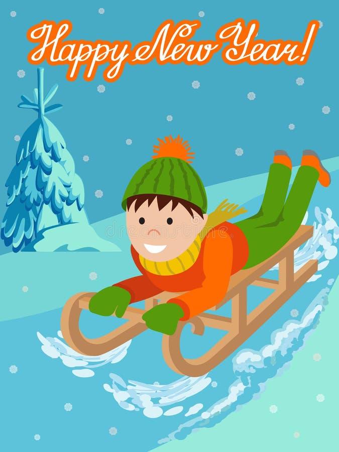 Niño lindo de la tarjeta del Año Nuevo en sledding de la nieve Ejemplo del vector con la enhorabuena de las letras libre illustration