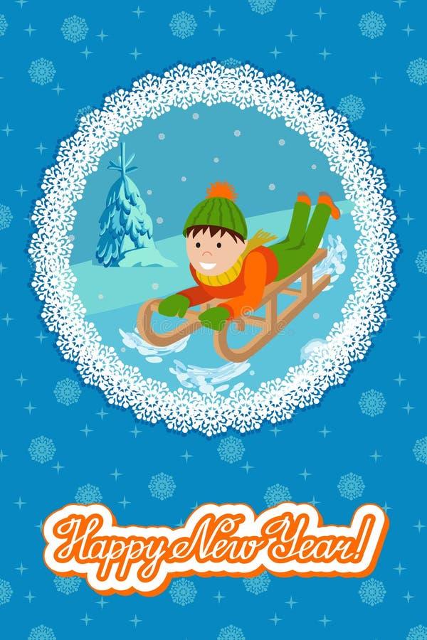 Niño lindo de la tarjeta del Año Nuevo en sledding de la nieve Ejemplo del vector con la enhorabuena de las letras stock de ilustración