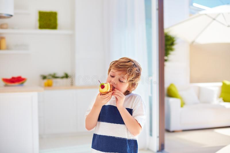 Niño lindo, muchacho joven comiendo la magdalena sabrosa con crema y frutas azotadas en casa fotografía de archivo libre de regalías