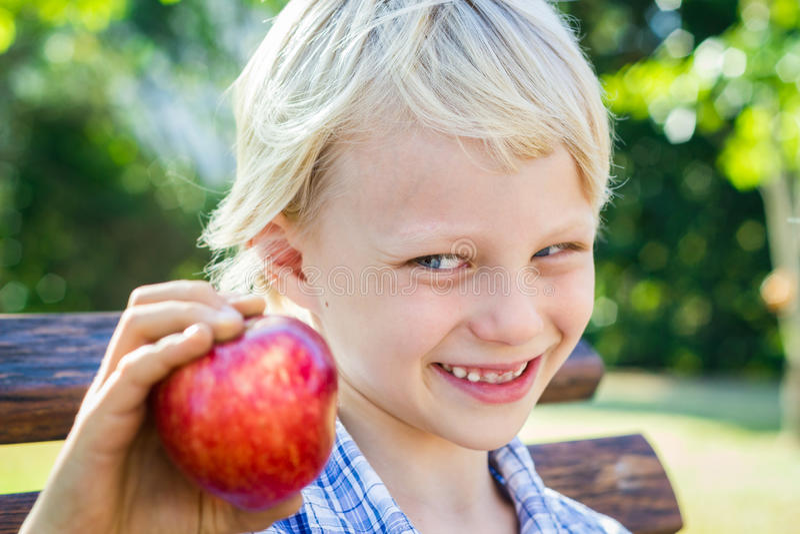Niño lindo que elige la manzana roja para un bocado imagen de archivo libre de regalías