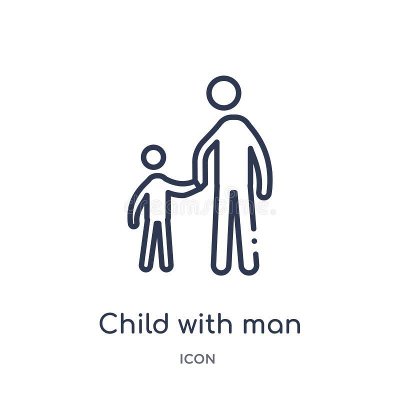 Niño linear con el icono del hombre de la colección del esquema del comportamiento Línea fina niño con vector del hombre aislado  libre illustration