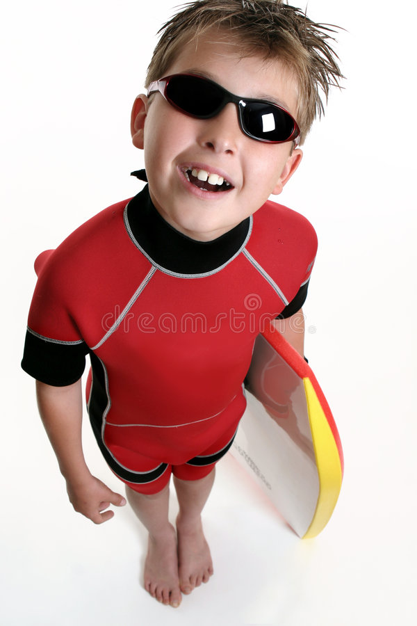 Niño listo para la resaca fotografía de archivo