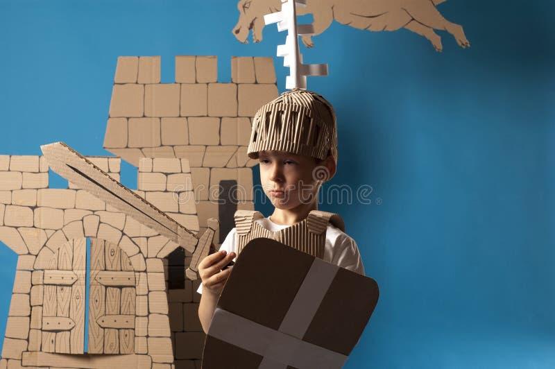 Niño medieval del caballero ilustración del vector
