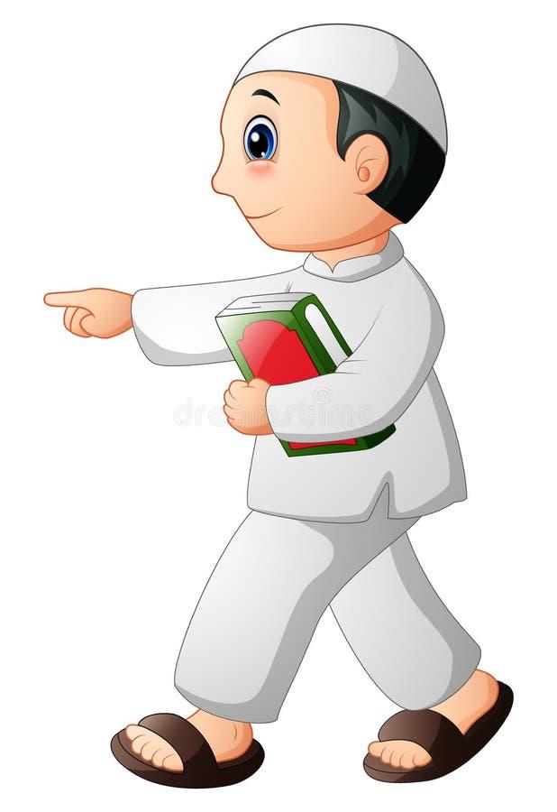Niño musulmán feliz que muestra con sostener quran libre illustration