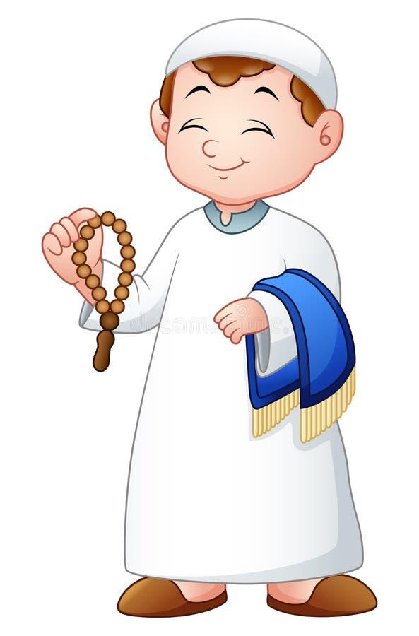 Niño musulmán que sostiene gotas del praye y la manta de rezo ilustración del vector