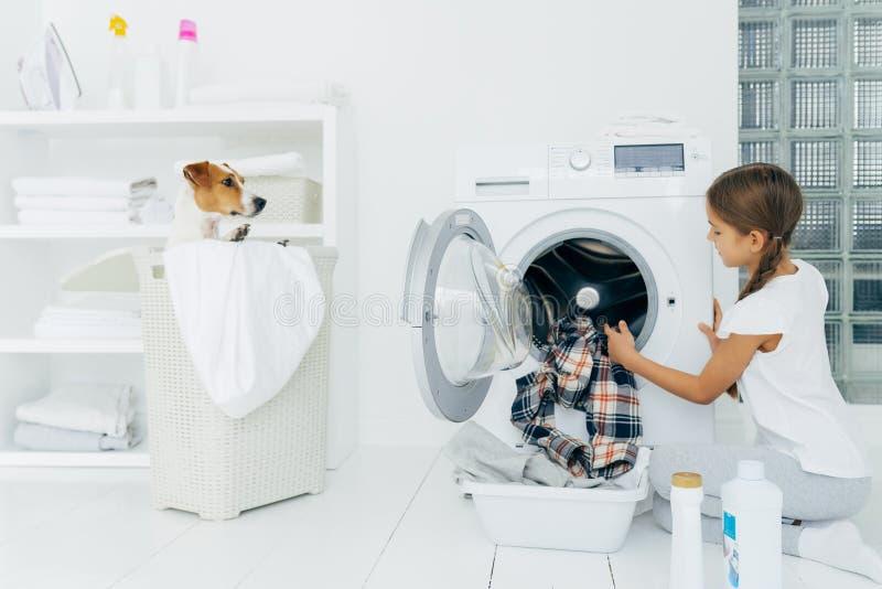 Niño ocupado lava ropa, lavadora vacía, ropa limpia en la cuenca usa detergentes, pequeño perro de pedigrí en la canasta fotos de archivo