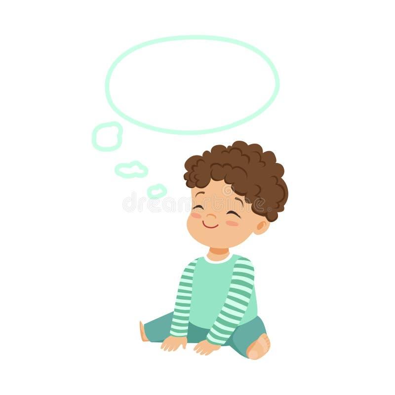 Niño pequeño adorable que sueña con una burbuja del pensamiento, una imaginación y una fantasía, ejemplo colorido de los niños de libre illustration