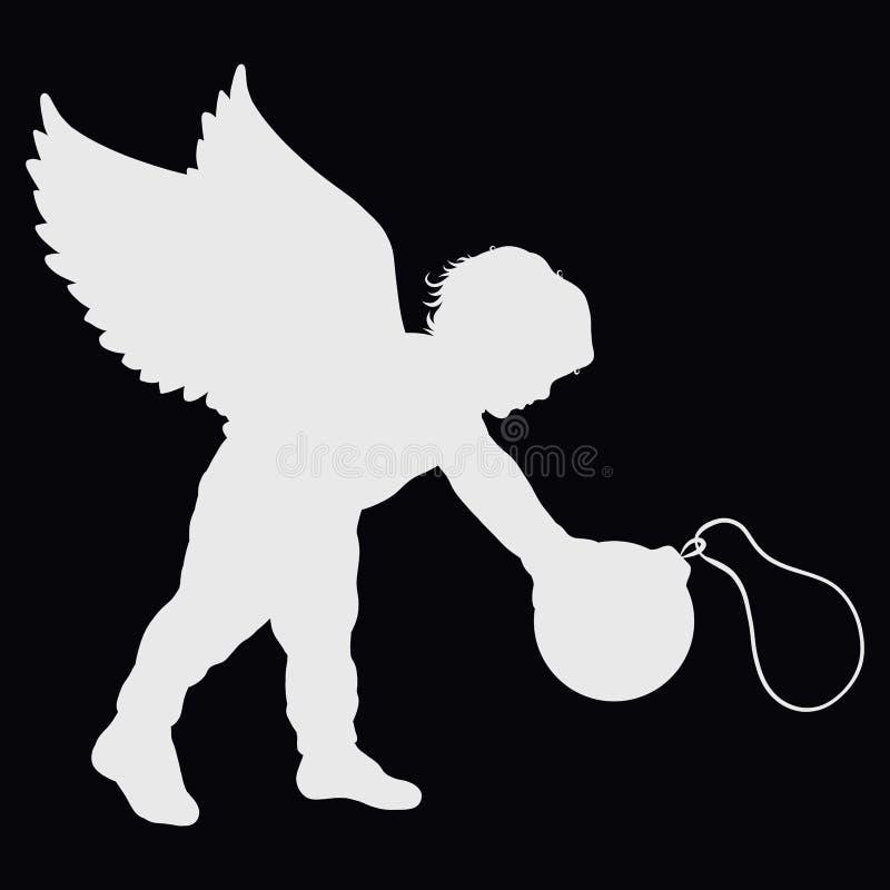 Niño pequeño con alas y una bola de la Navidad stock de ilustración