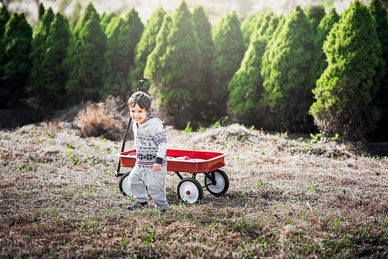 Niño pequeño con el carro rojo imagen de archivo libre de regalías