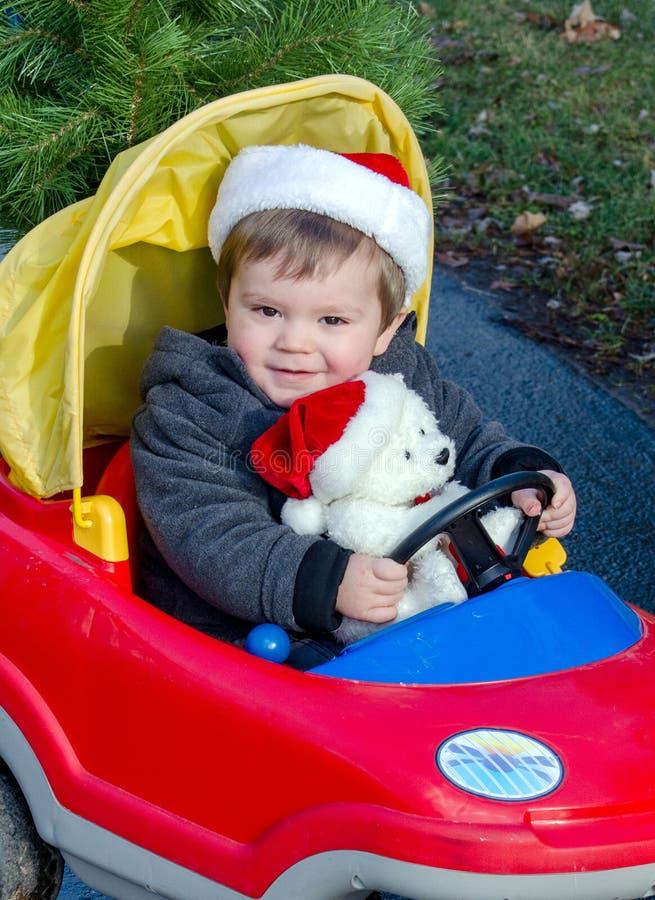 Niño pequeño con el oso polar de la Navidad imagen de archivo