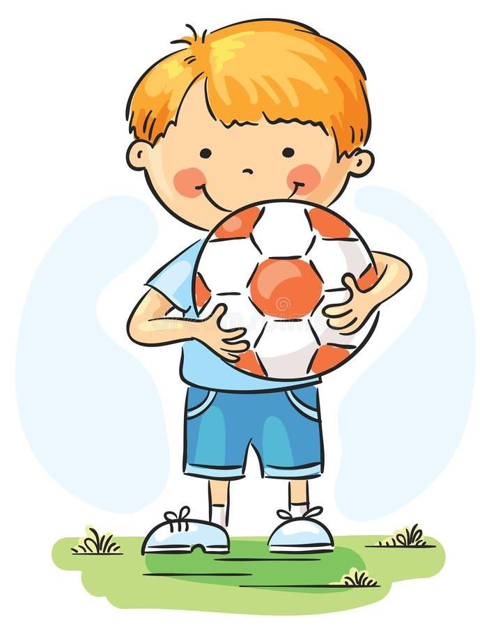 Niño pequeño con la bola del balompié ilustración del vector