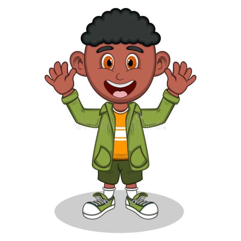 Niño pequeño con la chaqueta verde y los pantalones verdes que agitan su historieta de la mano ilustración del vector