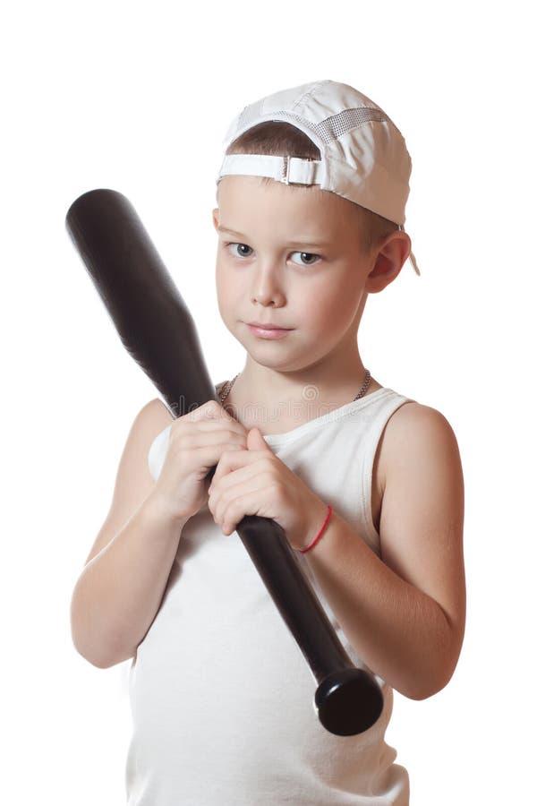 Niño pequeño con un bate de béisbol fotos de archivo libres de regalías