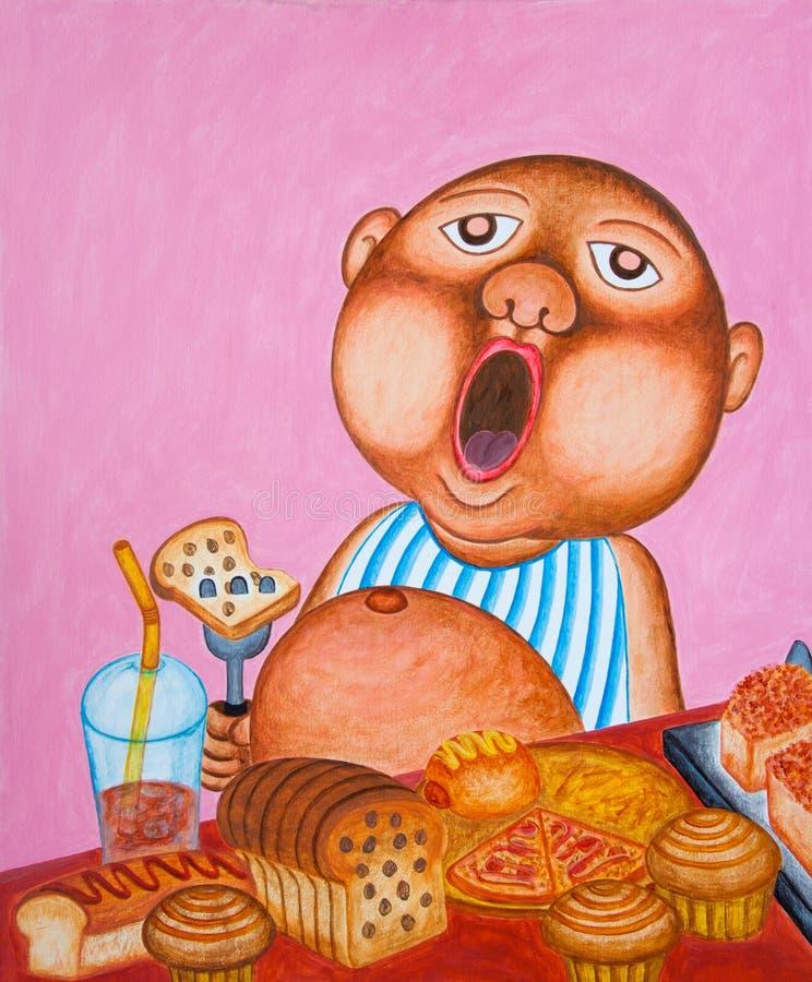 Niño pequeño de bostezo que come demasiado pan. libre illustration