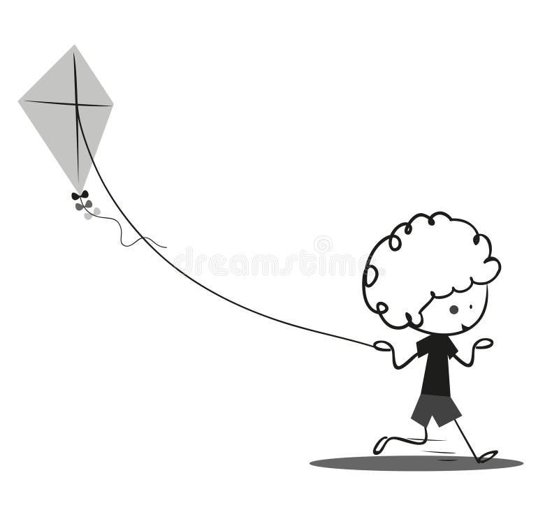 Niño pequeño del garabato que juega cometas ilustración del vector