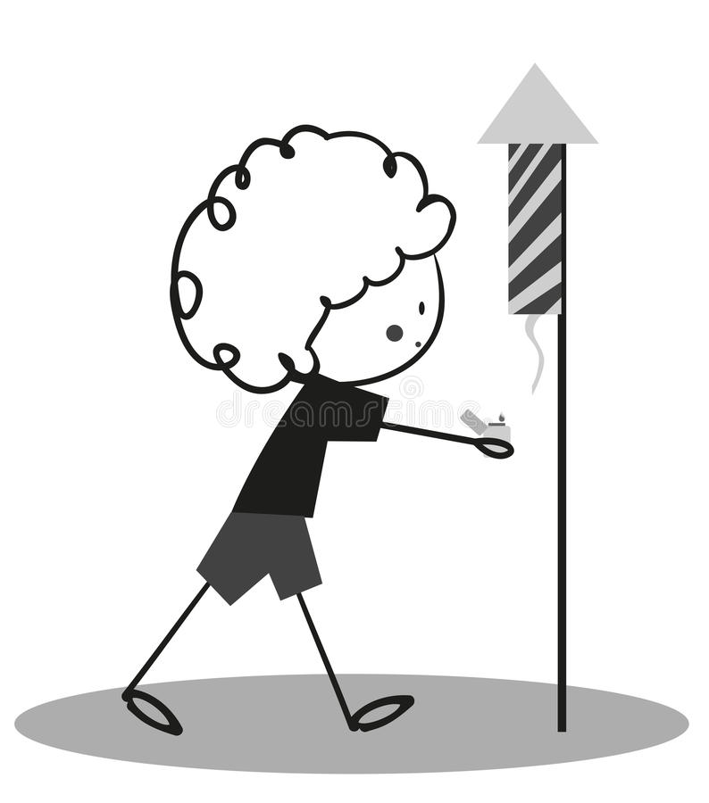 Niño pequeño del garabato que juega los petardos libre illustration