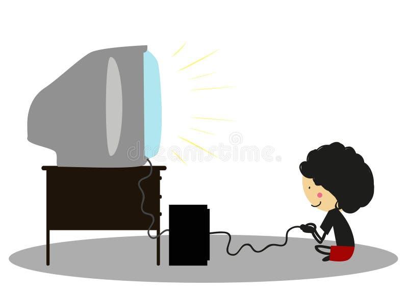 Niño pequeño del garabato que juega a los videojuegos - a todo color ilustración del vector