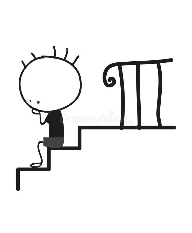 Niño pequeño del garabato que se sienta en las escaleras libre illustration