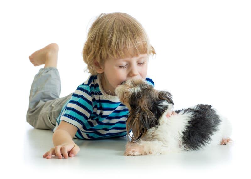 Niño pequeño del niño que besa el perro de perrito Aislado en el fondo blanco imagen de archivo