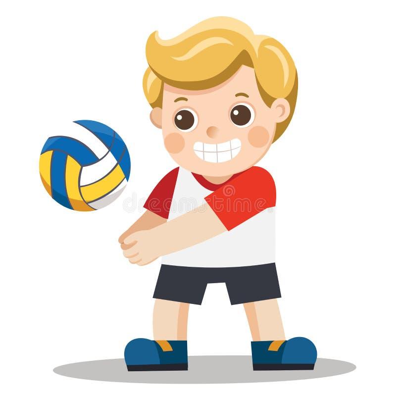 Niño pequeño divertido que juega la bola del voleo ilustración del vector