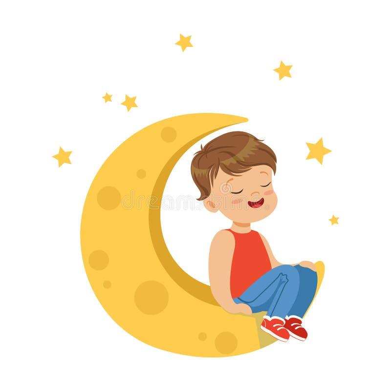 Niño pequeño dulce con los ojos cerrados que se sientan en la luna, la imaginación y la fantasía, vector colorido de los niños de ilustración del vector