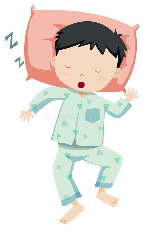Niño pequeño en dormir de los pijamas stock de ilustración