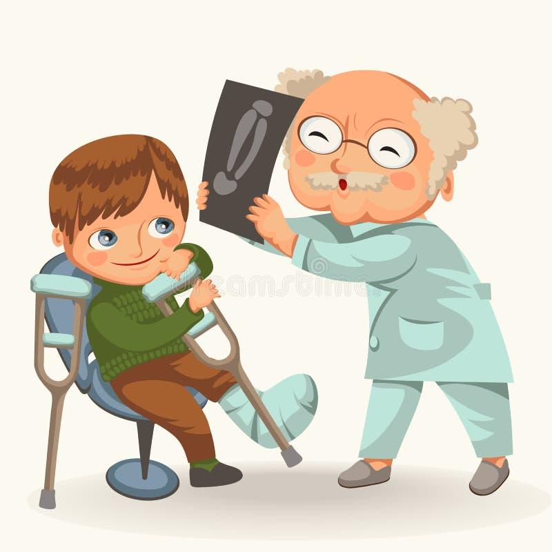 Niño pequeño en el cartel de la cita del traumatologist ilustración del vector
