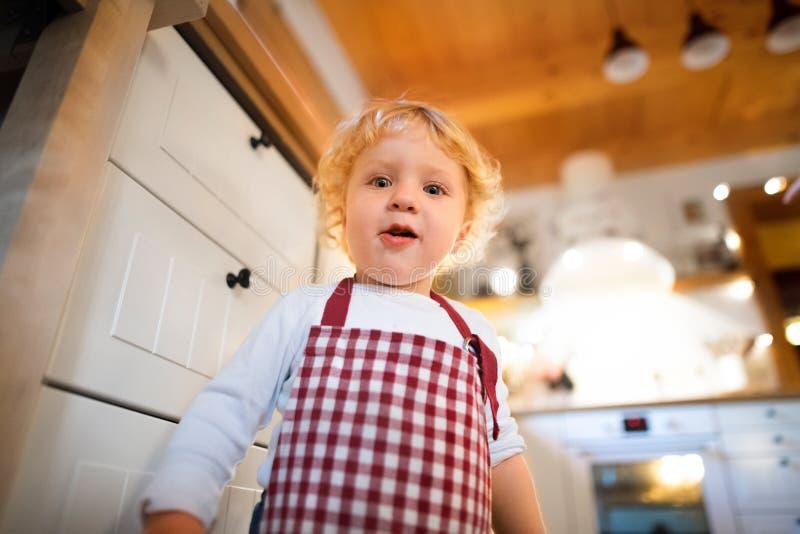 Niño pequeño en la cocina en el tiempo de la Navidad fotografía de archivo