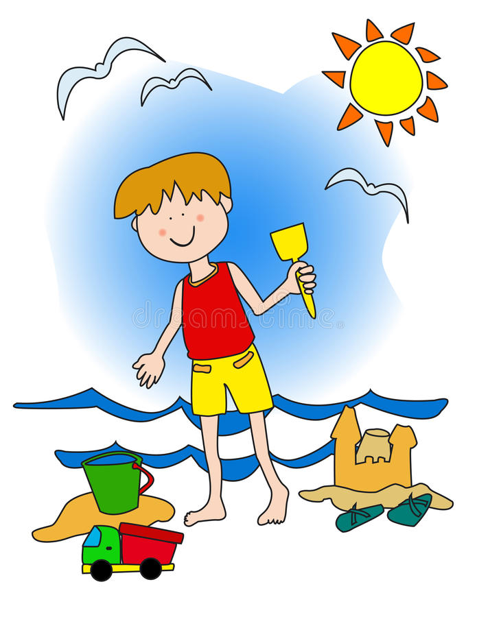 Niño pequeño en la playa stock de ilustración