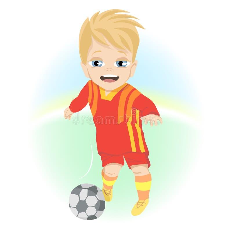 Niño pequeño feliz con la bola que juega al fútbol al aire libre ilustración del vector
