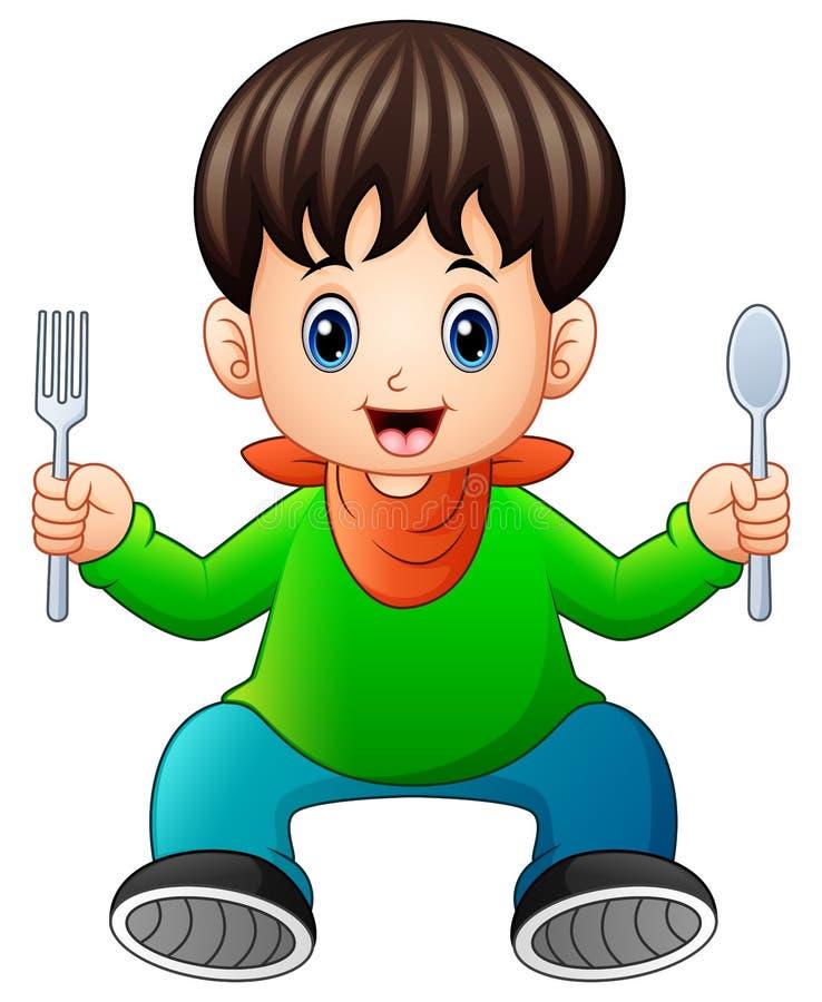 Niño pequeño feliz de la historieta que sostiene una cuchara y una bifurcación libre illustration
