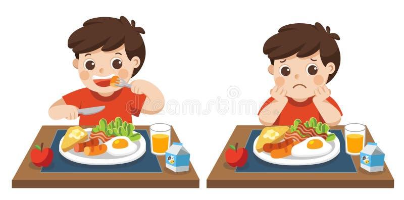 Niño pequeño feliz e infeliz de comer el desayuno stock de ilustración