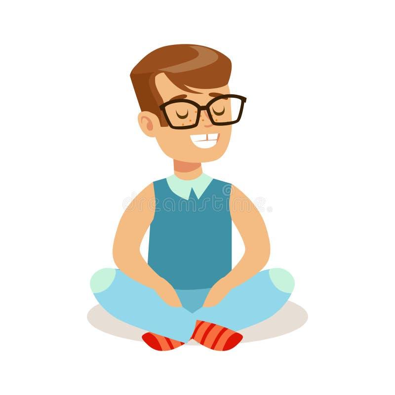 Niño pequeño feliz que se sienta con las piernas cruzadas en el piso Personaje de dibujos animados colorido stock de ilustración