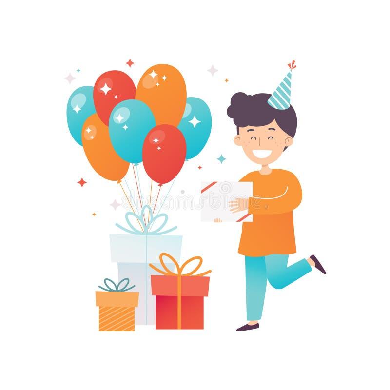 Niño pequeño feliz, sus presentes de cumpleaños y balones de aire brillantes Niño alegre en sombrero del partido Diseño plano del libre illustration