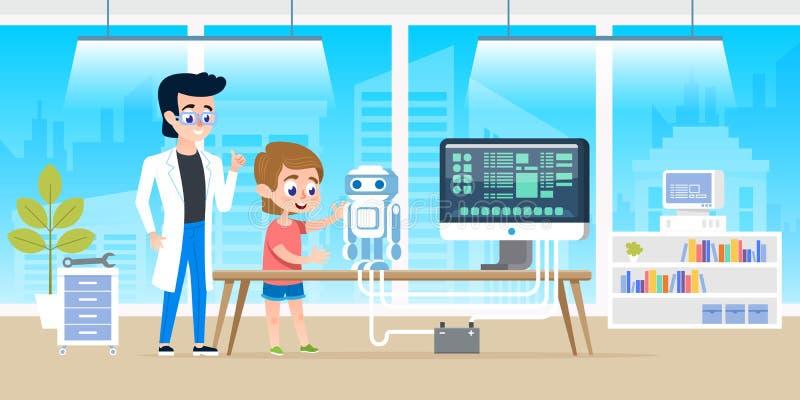 Niño pequeño hermoso de la ayuda del profesor con la programación y crear del robot elegante Cursos en el classrom moderno de la  libre illustration