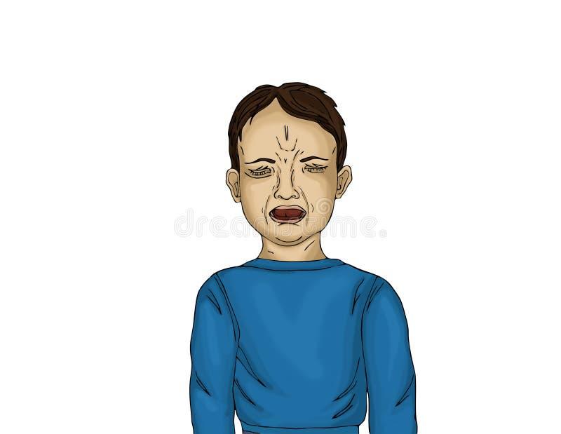 Niño pequeño infeliz que grita y que llora con la boca abierta stock de ilustración