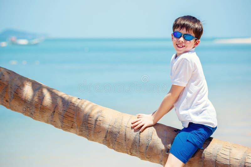 Niño pequeño lindo en la playa tropical que se sienta en la palmera imagenes de archivo