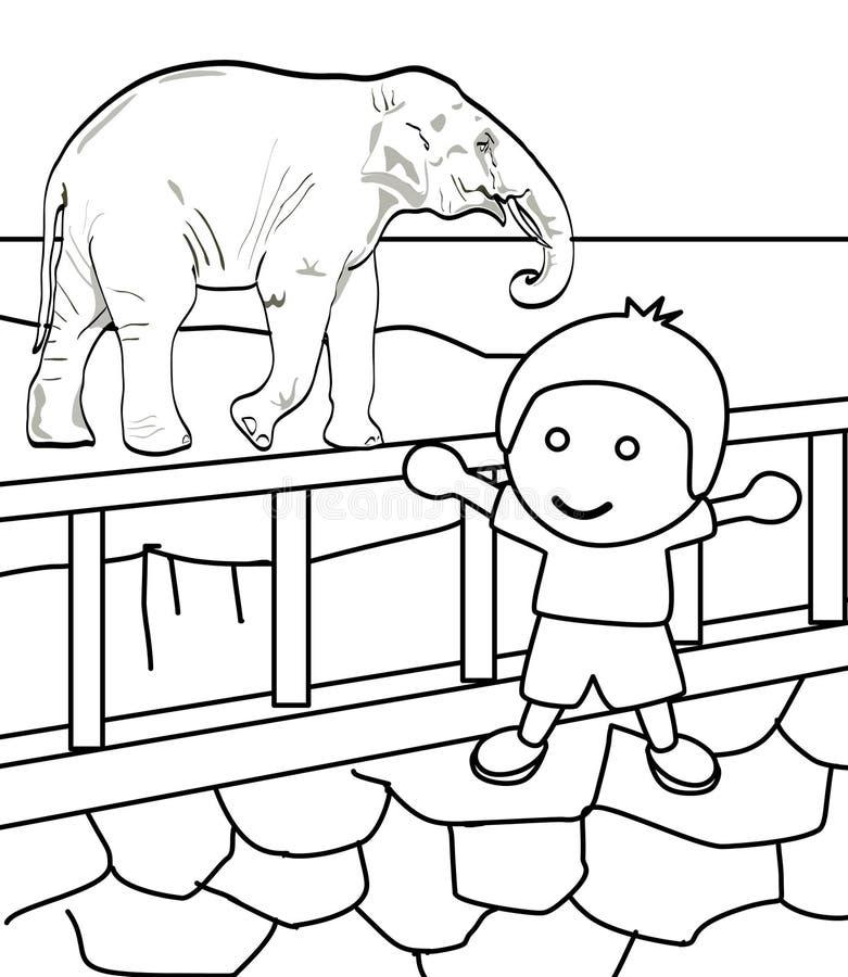 Niño Pequeño Lindo En Una Página Del Colorante Del Parque Zoológico ...