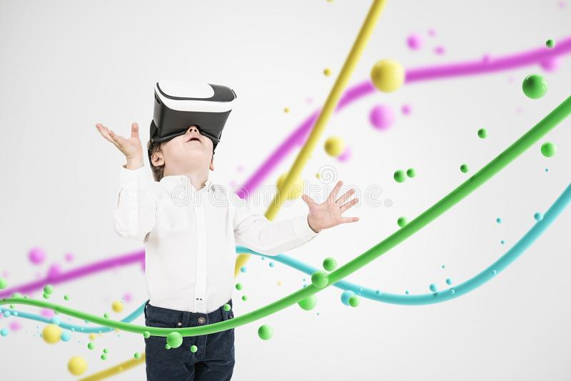 Niño pequeño lindo en vidrios, líneas y burbujas de VR ilustración del vector