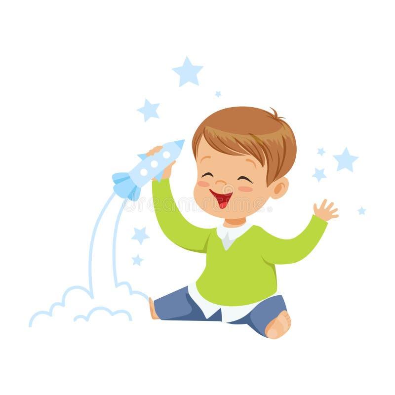 Niño pequeño lindo que juega con el juguete del cohete, la imaginación y la fantasía, ejemplo colorido de los niños del vector de ilustración del vector