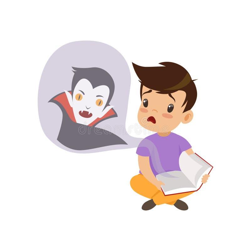 Niño pequeño lindo que lee un libro asustadizo acerca de vampiros, ejemplo fabuloso del vector del concepto de la imaginación de  ilustración del vector