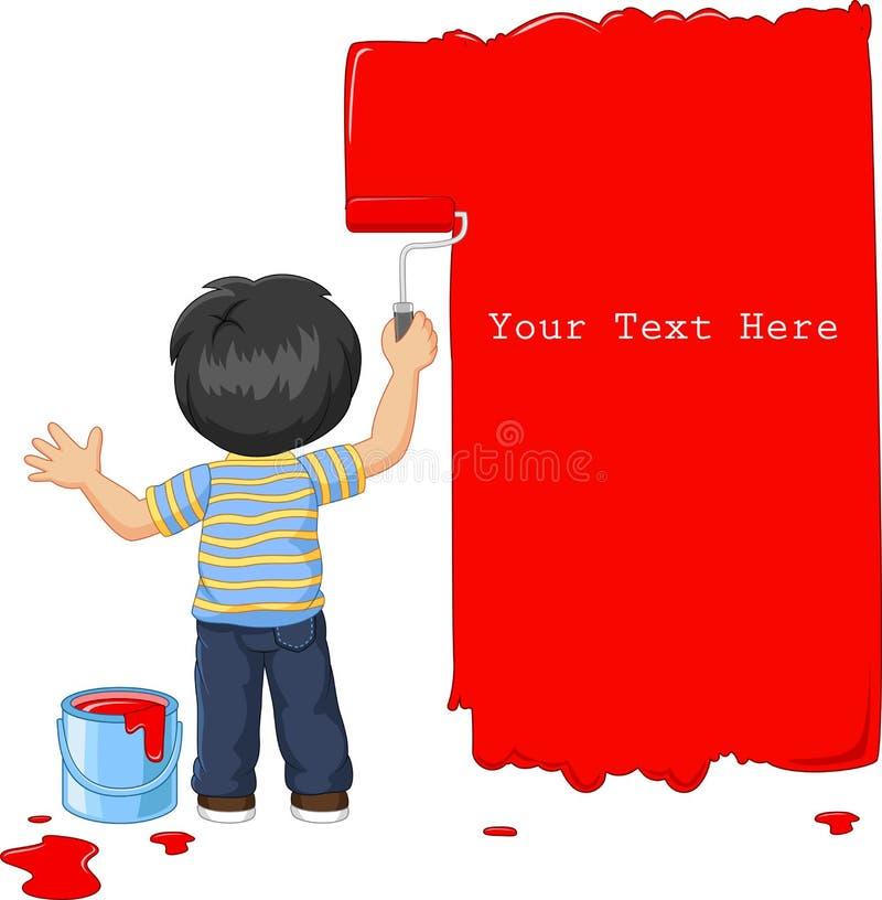 Niño pequeño lindo que pinta la pared con color rojo stock de ilustración