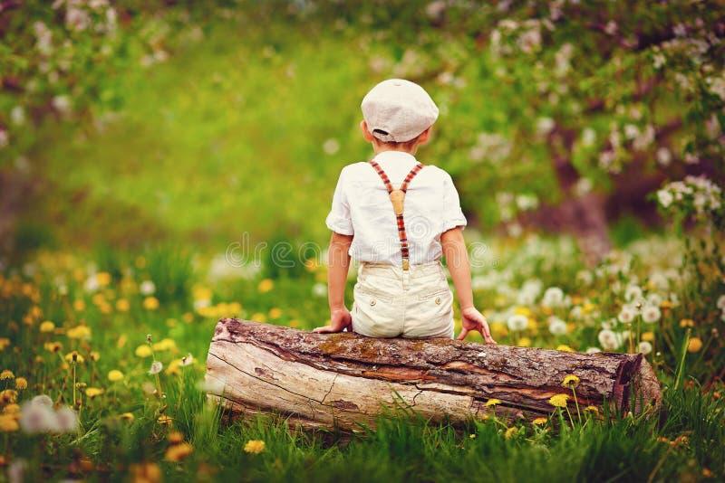 Niño pequeño lindo que se sienta en registro de madera, en jardín de la primavera