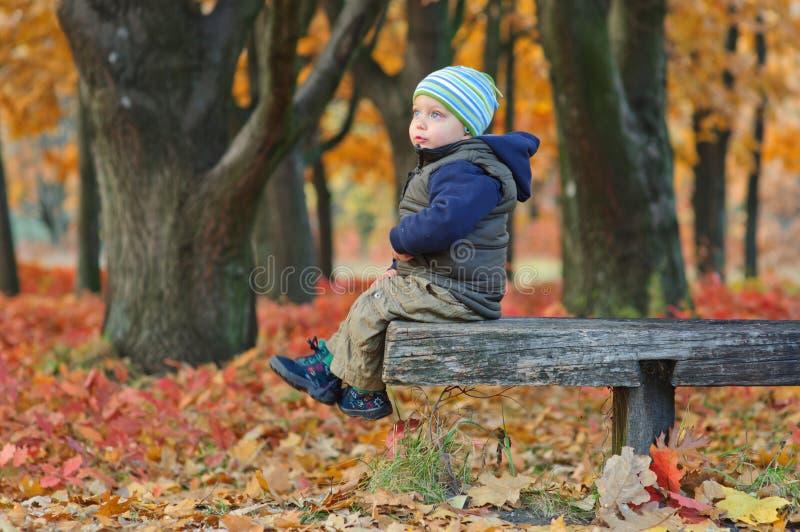 Niño pequeño lindo que se sienta en un banco fotos de archivo