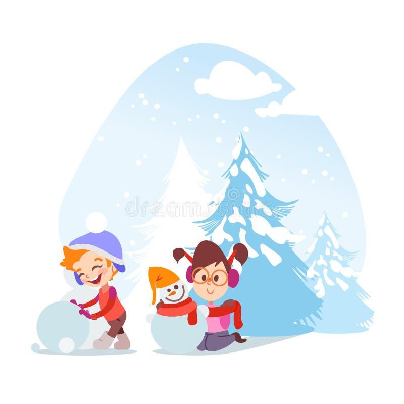 Niño pequeño lindo y muchacha de la historieta que esculpen el muñeco de nieve libre illustration
