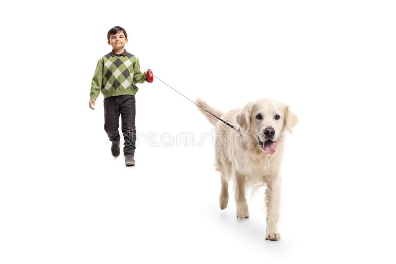 Niño pequeño que camina un perro imagenes de archivo