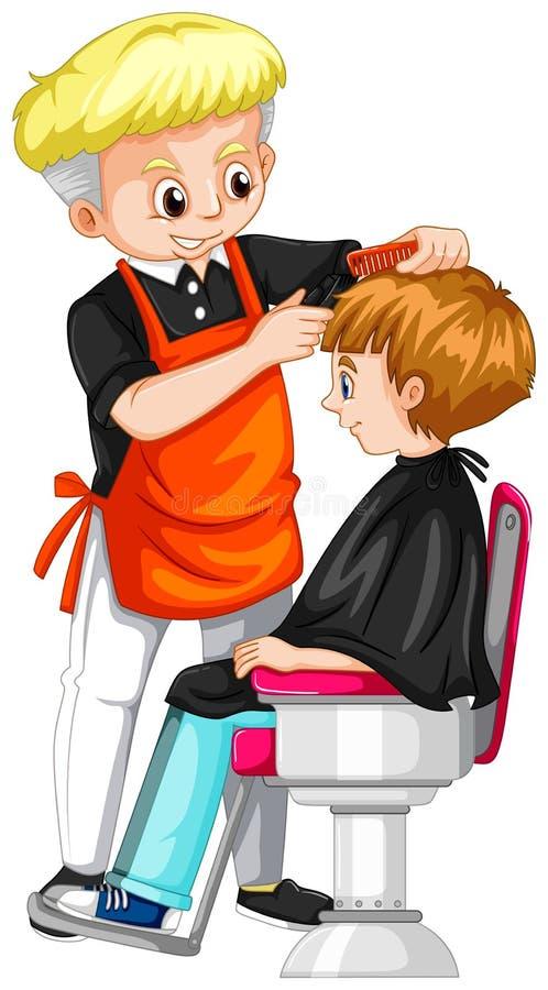 Niño pequeño que consigue corte de pelo en el peluquero libre illustration