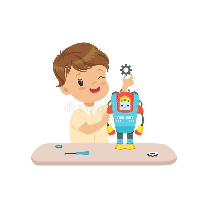 Niño pequeño que construye un robot, robótica y programándolo para los niños, ejemplo educativo del vector del concepto del proye stock de ilustración